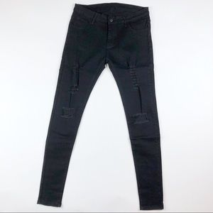 Denim - Black Distressed Skinny Jeans